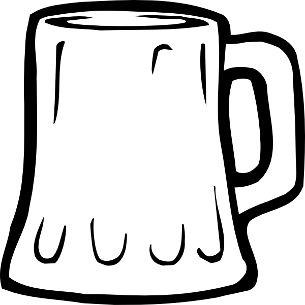 Mug black and white. Silhouette clipart beer