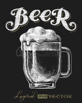 Mug vector illustration of. Beer clipart chalkboard