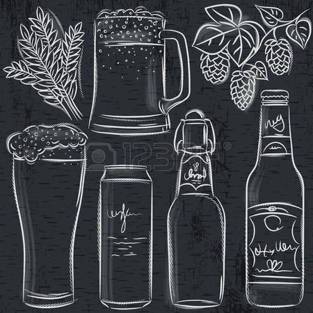 Set of bottle on. Beer clipart chalkboard