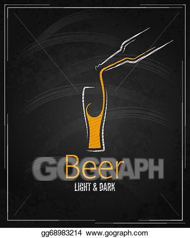 Vector art glass menu. Beer clipart chalkboard