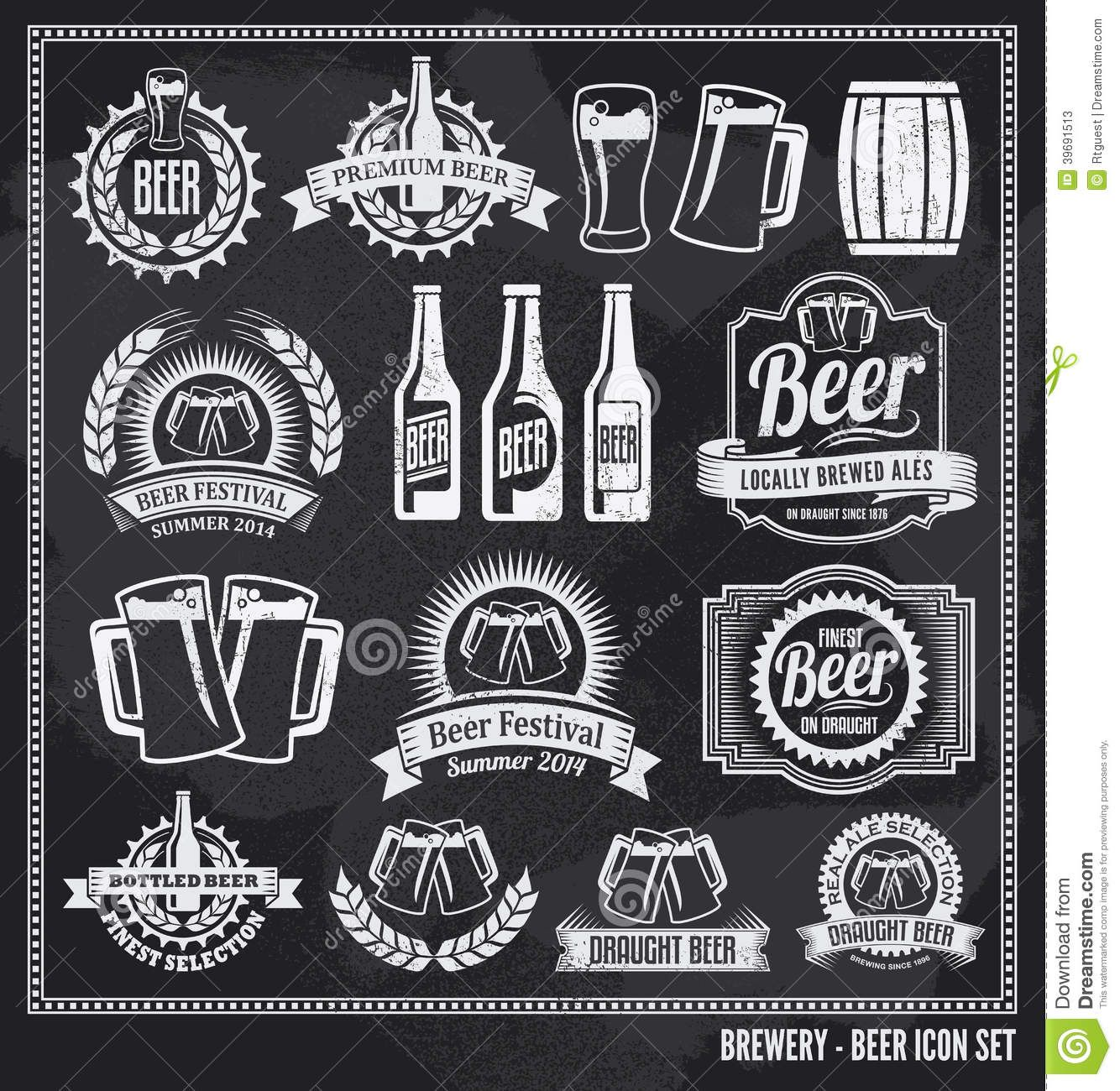 Beer clipart chalkboard. Icon set labels posters