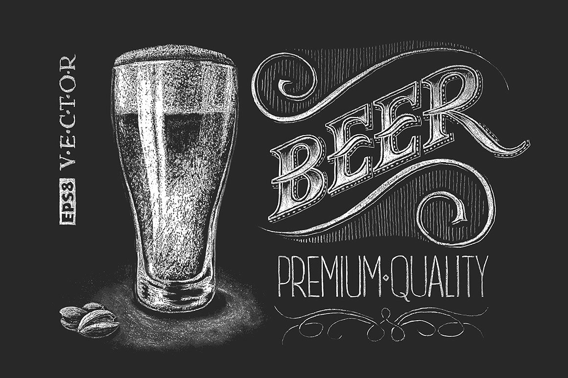 Glass chalk drawing illustrations. Beer clipart chalkboard