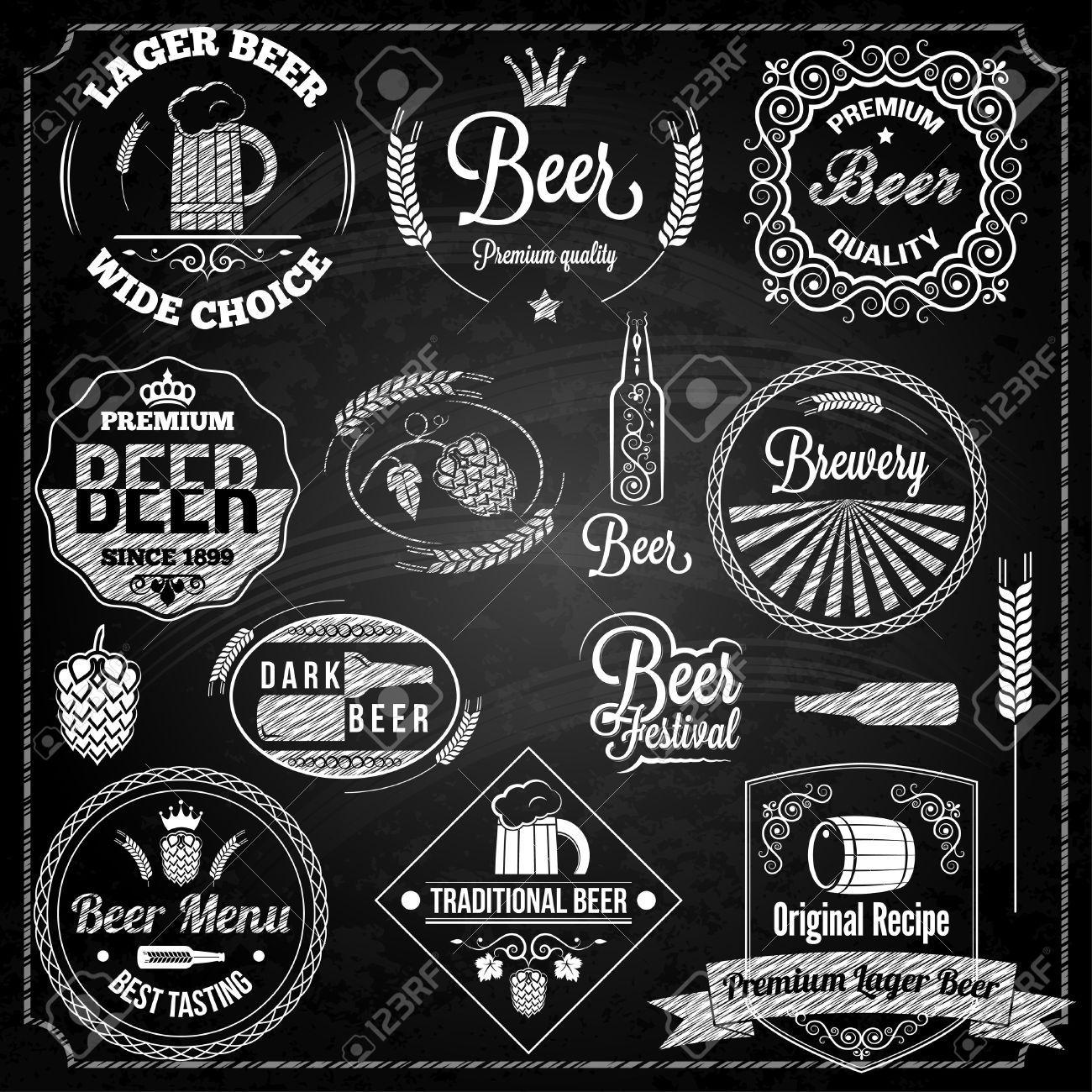 Set elements royalty free. Beer clipart chalkboard