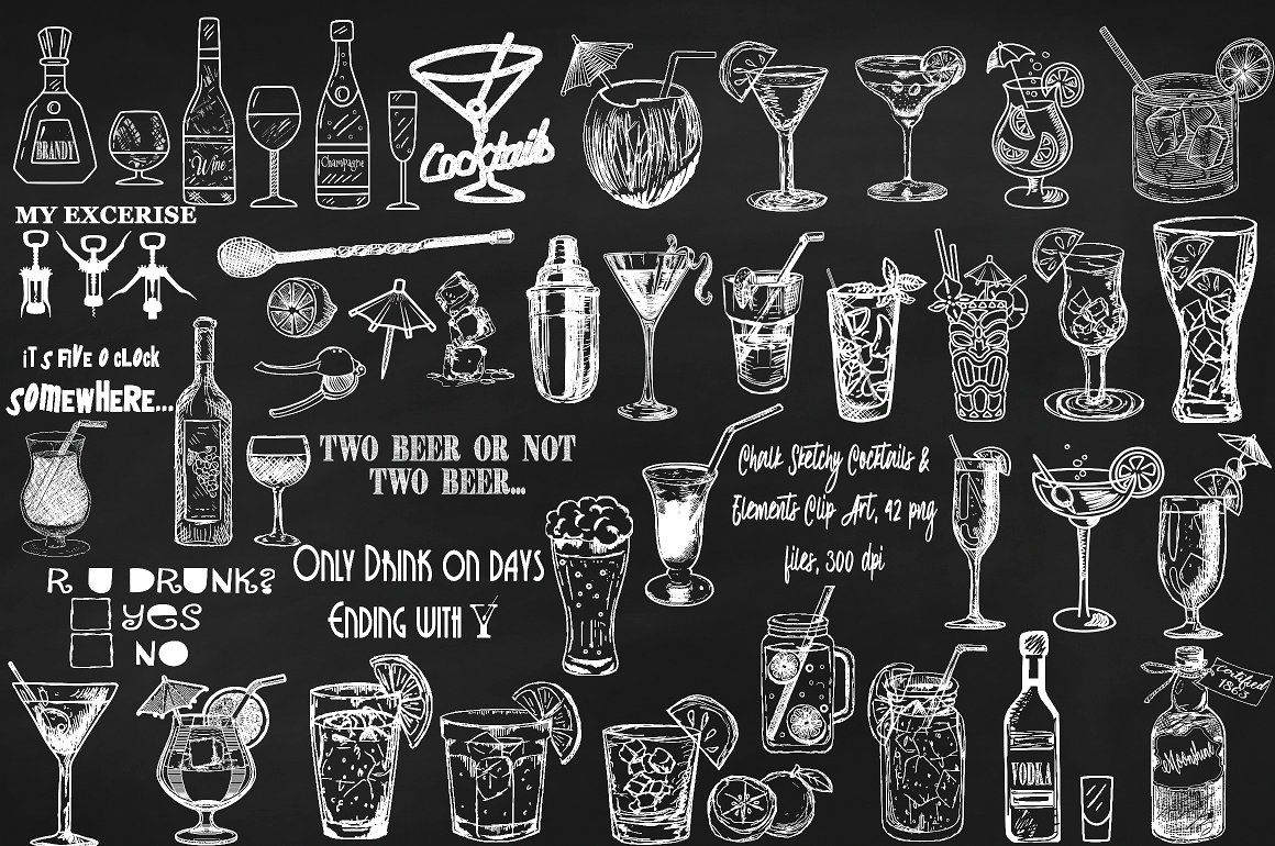 Chalk board art home. Cocktails clipart chalkboard