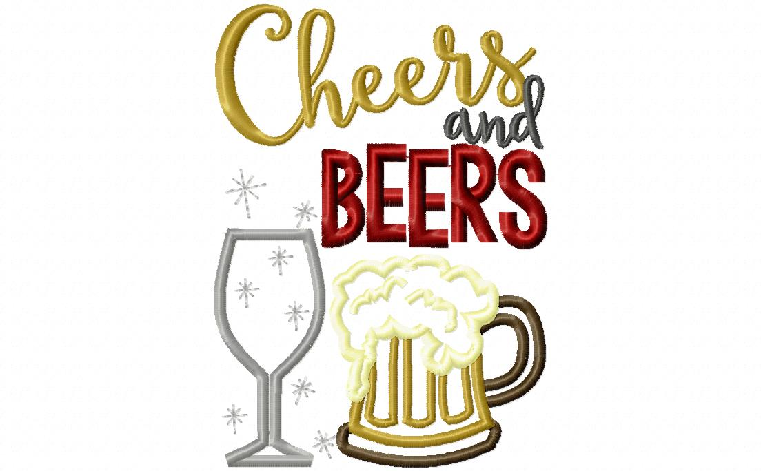 Beer clipart cheer. Cheers and beers embroidery