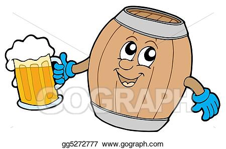 Drawing wooden keg holding. Beer clipart cute
