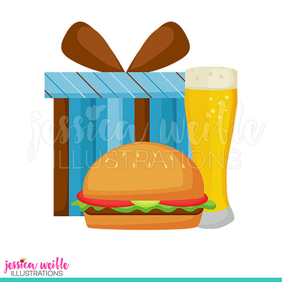 Masculine beer gift digital. Burger clipart cute