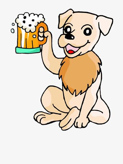 Puppy drinking cartoon animal. Beer clipart cute