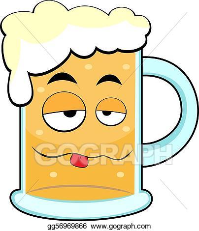 Beer clipart cute. Vector art drunk mug