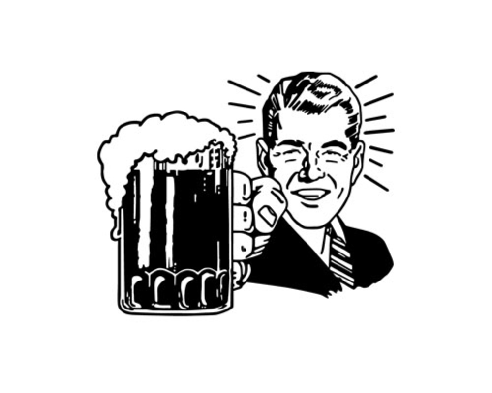Unique black and white. Beer clipart drawing