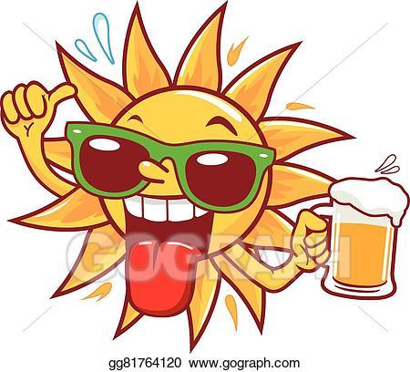 Vector art cartoon sun. Beer clipart drawing
