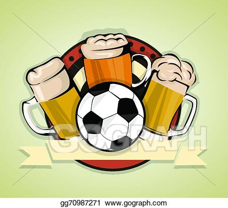 Vector stock soccer background. Beer clipart football