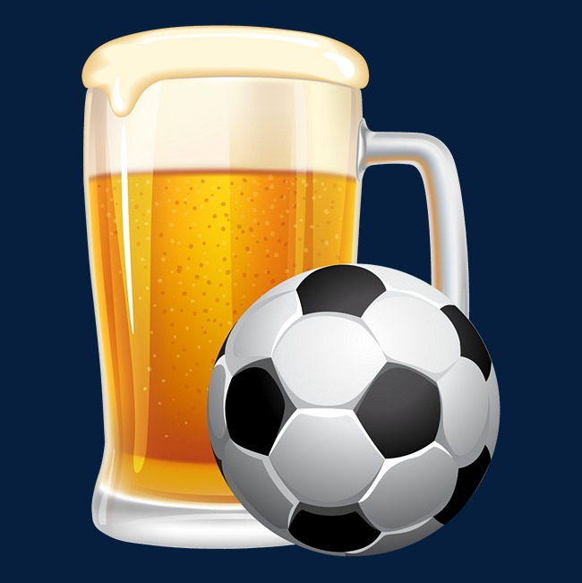Creative pictures element match. Beer clipart football