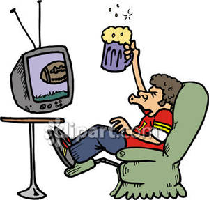 Watching . Beer clipart football