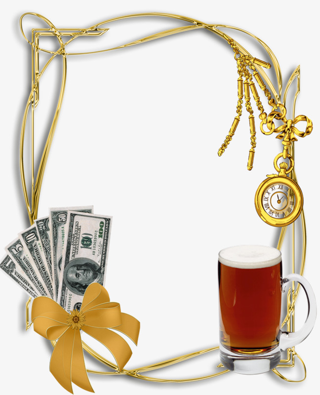 Banknotes brushed metal banknote. Beer clipart frame