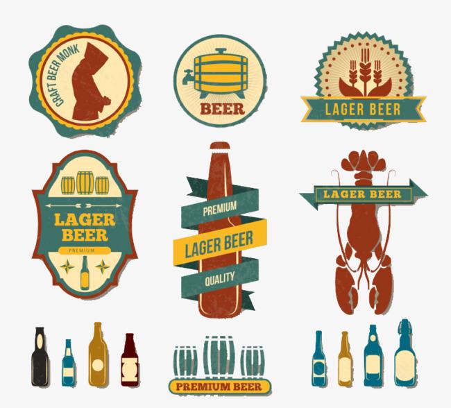 vintage label vector. Beer clipart retro
