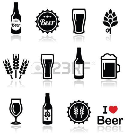 Mug glass vector black. Beer clipart silhouette