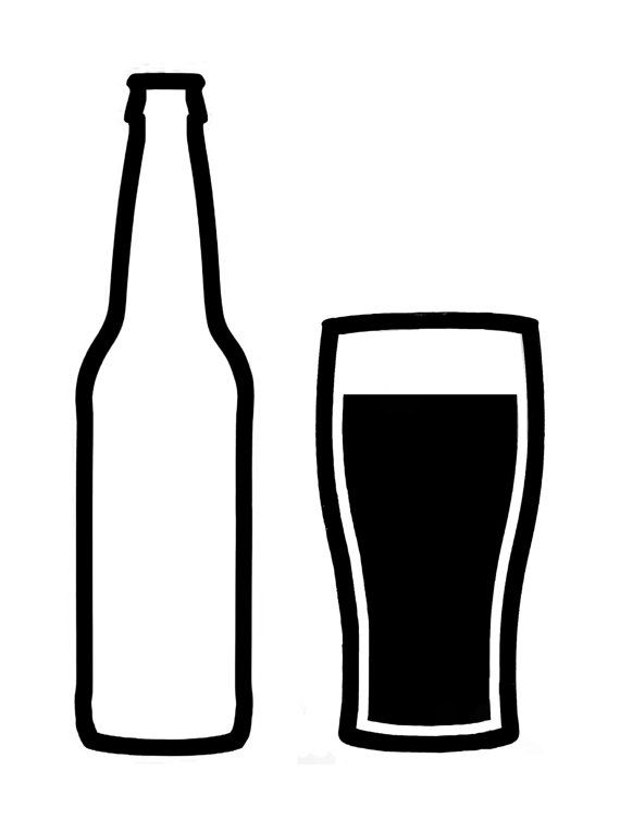 Beer clipart silhouette. Craft bottle and glass