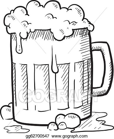 Vector stock mug illustration. Beer clipart sketch