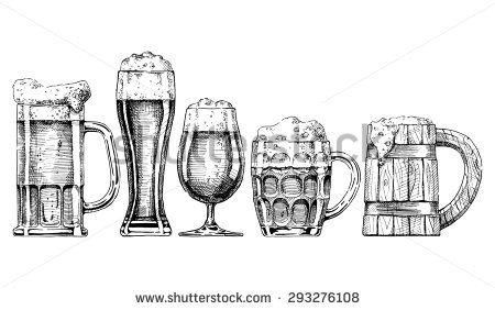 Vintage style drawings stock. Beer clipart sketch