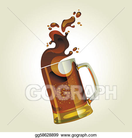 Vector art black mug. Beer clipart splash