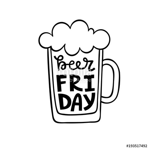 Friday lettering poster design. Beer clipart vector