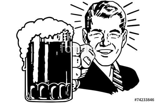 Beer clipart vector. Retro pencil and in