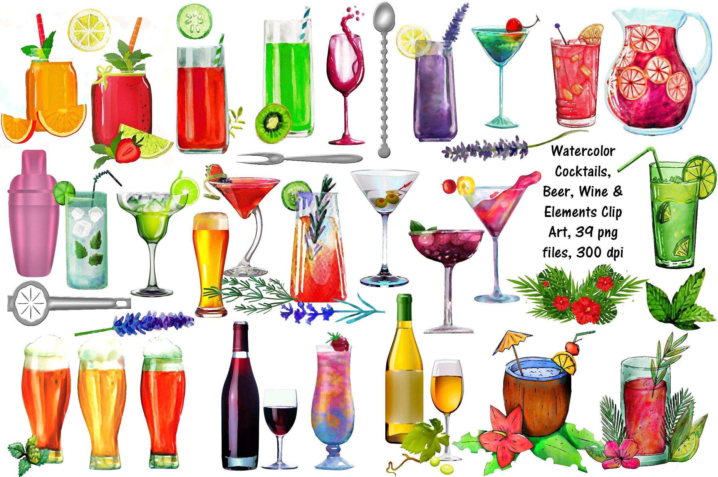 Cocktails wine illustrations creative. Beer clipart watercolor