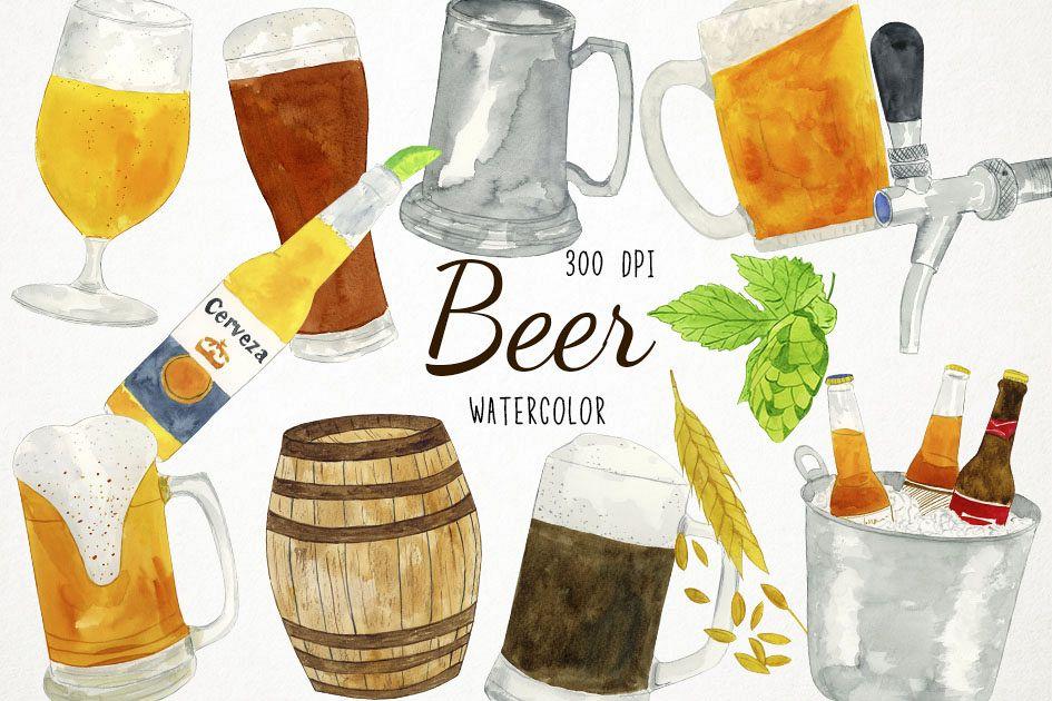 Party al design bundles. Beer clipart watercolor
