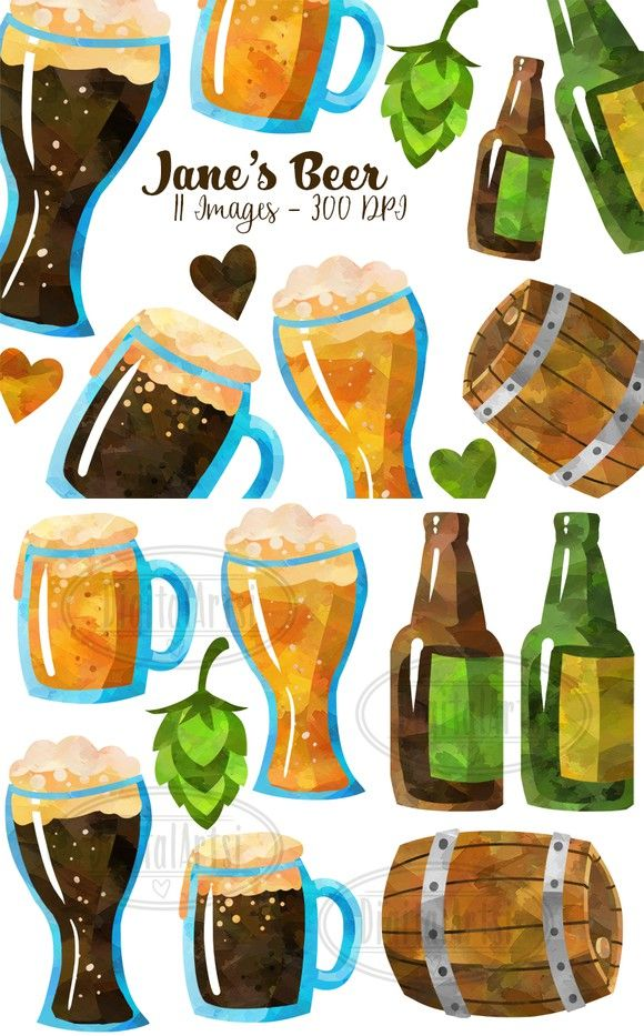 Beer clipart watercolor. Digital and graphics