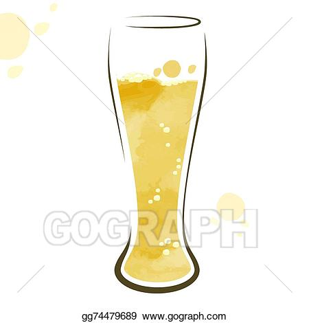 Beer clipart watercolor. Vector illustration glass of