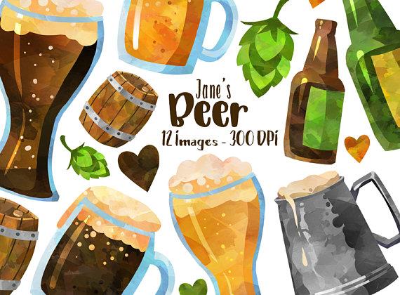 Download instant . Beer clipart watercolor