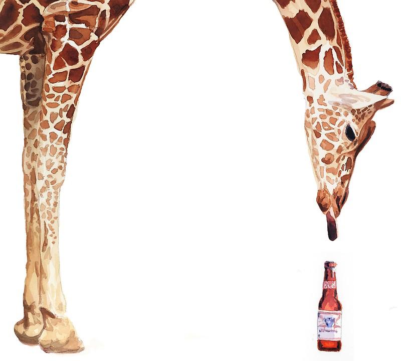 Licker with giraffe metal. Beer clipart watercolor