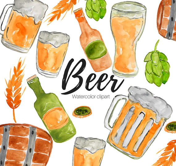 Fathersday . Beer clipart watercolor