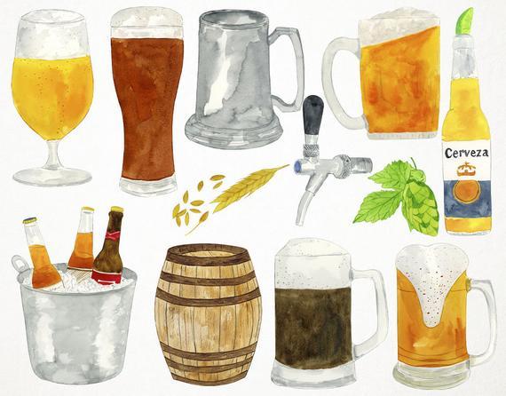Clip art watercolour alcohol. Beer clipart watercolor