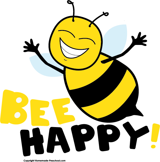 Free bee . Clipart pencil happy