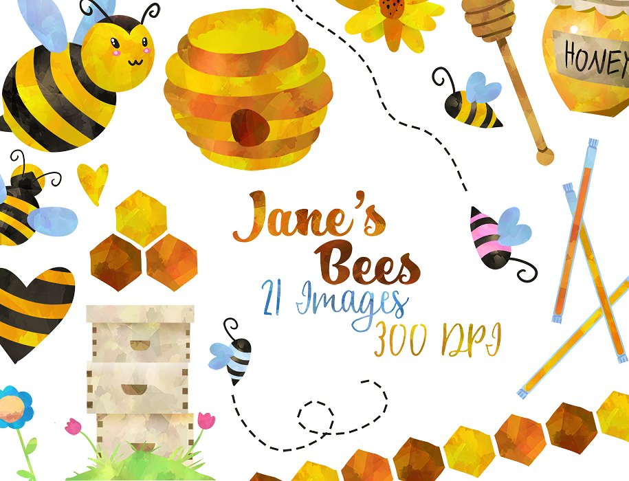 Watercolor honey bee illustrations. Bees clipart abstract