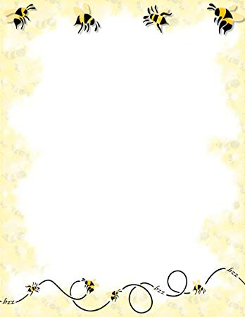 Bees clipart borders. Bumble bee stationery printer