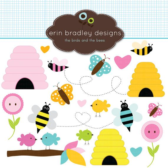 Birds clip art for. Bees clipart butterfly