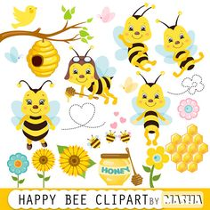 Bees clipart butterfly. Honey bee digital scrapbooking