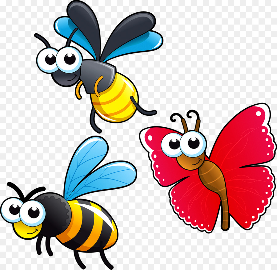 Insect cartoon drawing clip. Bees clipart butterfly