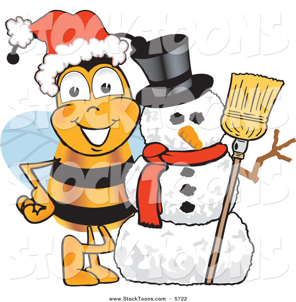 Stock cartoon of a. Bees clipart christmas