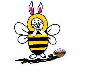 Bees clipart easter. Yellow bunny eats red
