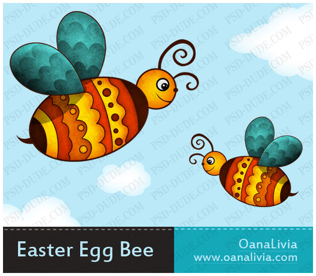 Create a cute photoshop. Bees clipart easter