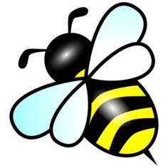 Line drawing simple bee. Bees clipart easy