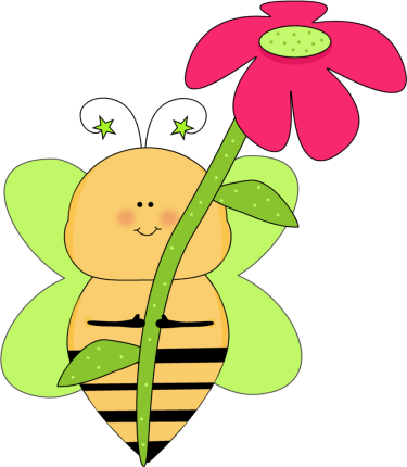 Green star bee with. Bees clipart flower