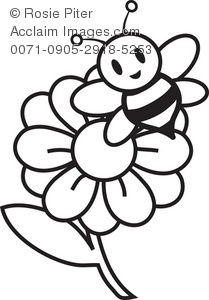 Illustration of a and. Bees clipart flower