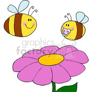 Royalty free two and. Bees clipart flower