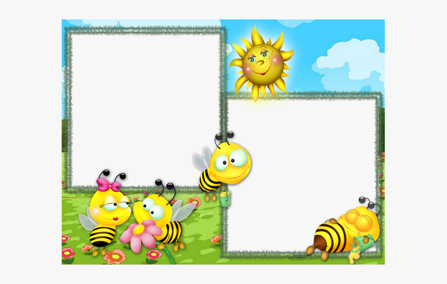 Bees clipart frame. Cute pictures bee theme