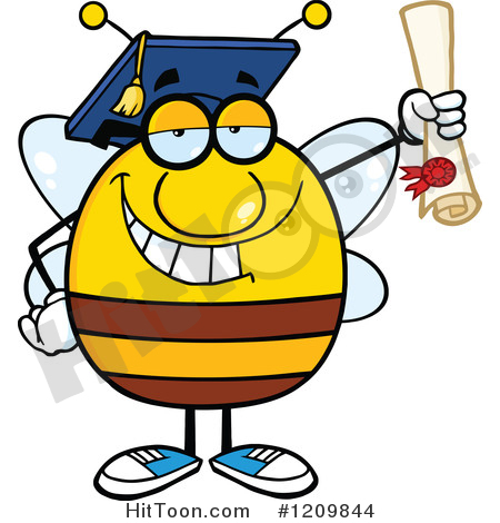 Pencil and in color. Bees clipart graduation